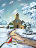 ноча волшебства ландшафта рождества иллюстрация штока