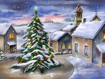 ноча волшебства ландшафта рождества иллюстрация вектора