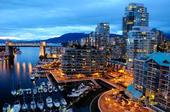 Ноча гавани Ванкувер Стоковое фото RF