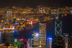 Ноча гавани Гонконга Виктории Стоковое Фото