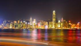 Ноча гавани Гонконга Виктории Стоковое Изображение RF