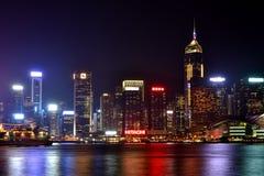 Ноча гавани Гонконга Виктории, 2016 Стоковые Фотографии RF