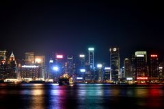 Ноча гавани Гонконга Виктории, 2016 Стоковое Фото