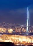 ноча газа контейнера моста Стоковое Фото