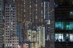 Ноча города в Гонконге Стоковые Фотографии RF