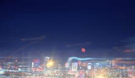 ноча города самомоднейшая Мультимедиа Стоковые Изображения