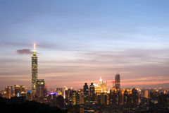 Ноча города Тайбэя Стоковые Фото