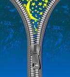 ноча джинсыов над звёздный застежкой -молнией Стоковые Изображения