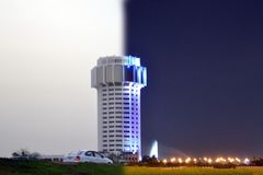 ноча дня здания Стоковая Фотография