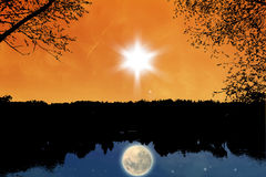 ноча дня иллюстрация штока