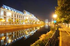 ноча здания суда bucharest Стоковое Фото