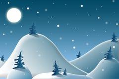 Ноча зимы в горах Стоковые Фотографии RF