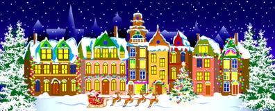 Ноча зимы в старом городке Стоковое фото RF