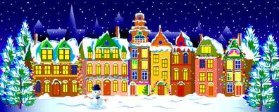 Ноча зимы в старом городке Стоковые Изображения