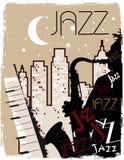 ноча играя саксофониста бесплатная иллюстрация
