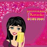 Ноча караоке, абстрактная иллюстрация с микрофоном и певица Стоковая Фотография