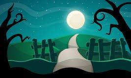 ноча луны иллюстрации halloween Звезда, дорога, дерево Стоковые Фото