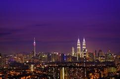 Ноча Малайзия горизонта Куалаа-Лумпур Стоковое Изображение