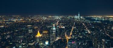 Ноча Манхаттана Нью-Йорка Стоковые Фотографии RF