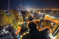 ноча Марины Дубай Стоковое фото RF
