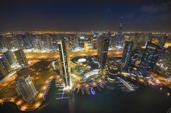 ноча Марины Дубай Стоковые Фотографии RF