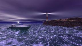 Ноча маяка бурная иллюстрация вектора