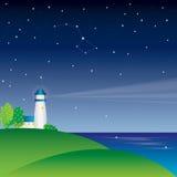 ноча маяка Стоковая Фотография