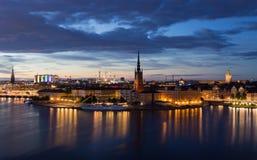 Ноча набережной в Стокгольме Швеция 30 07 2016 Стоковая Фотография RF