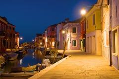 Ноча на острове Burano Италия venice Стоковые Изображения
