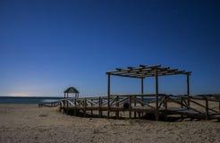 Ноча на пляжах Тарифы, Андалусии Стоковые Изображения RF