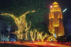Ноча на Jalan Ampang, Куалае-Лумпур, Малайзии Стоковые Изображения RF