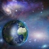 Ноча дня земли в космосе Стоковое Изображение