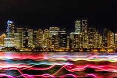 Ноча освещает, Ванкувер, ДО РОЖДЕСТВА ХРИСТОВА, Британская Колумбия, Канада Стоковое фото RF