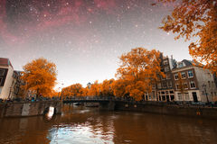 Ноча осени Амстердама Стоковая Фотография RF