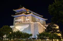 ноча переднего строба фарфора Пекин qianmen Стоковое Изображение