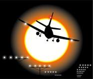 ноча посадки самолета Стоковое Фото