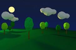 Ноча полнолуния и леса Стоковые Изображения