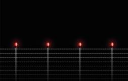 Ноча предупредительного светового сигнала загородки колючей проволоки иллюстрация штока