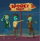 ноча пугающая Партия Halloween alien кот шаржа избегает вектор крыши иллюстрации Стоковое Фото