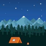 Ноча располагаясь лагерем в горах бесплатная иллюстрация