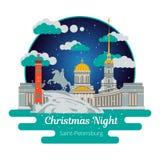 Ноча рождества в Санкт-Петербурге иллюстрация штока