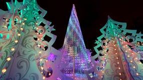 Ноча рождества Москва --- Лес музыки на путешествии ` фестиваля квадрата Pushkin к ` рождества, России Стоковое Изображение
