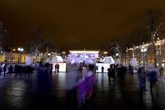 Ноча рождества Москва --- Лес музыки на путешествии ` фестиваля квадрата Pushkin к ` рождества, России Стоковые Изображения RF