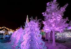 Ноча рождества Москва --- Лес музыки на путешествии ` фестиваля квадрата Pushkin к ` рождества, России Стоковое Фото