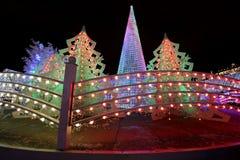 Ноча рождества Москва --- Лес музыки на путешествии ` фестиваля квадрата Pushkin к ` рождества, России Стоковое Изображение RF