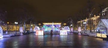 Ноча рождества Москва --- Лес музыки на путешествии ` фестиваля квадрата Pushkin к ` рождества, России Стоковые Фотографии RF