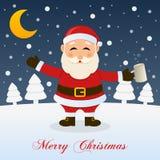 Ноча рождества с пьяным Санта Клаусом иллюстрация штока