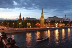 ноча Россия kremlin moscow Стоковые Фото