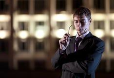ноча света города бизнесмена здания Стоковое Изображение