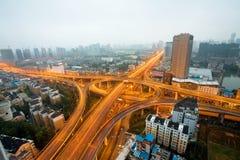 ноча света скоростного шоссе автомобилей Стоковое фото RF